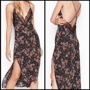 Victoria Secret Floral Lace Side Slit Slip Dress